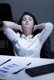 Tired woman during break Royalty Free Stock Photo
