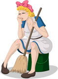 Tired Woman With Broom Sitting On Bucket. Vector illustration of a tired cleaning lady sitting on a bucket royalty free illustration