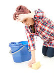 Tired woman cleaning floor, full length Stock Photography