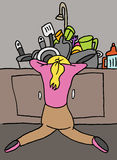 Tired woman doing dishes Stock Images