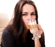 Tired woman drink coffee Royalty Free Stock Image