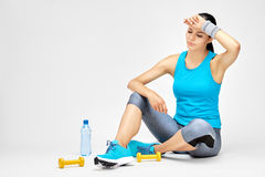Tired woman after exercises. Royalty Free Stock Images
