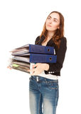 Tired woman with folders Royalty Free Stock Image