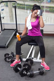 Tired woman in the gym Royalty Free Stock Images