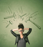 Tired woman with hair style and headache hammer symbols Royalty Free Stock Photo