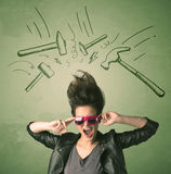 Tired woman with hair style and headache hammer symbols Stock Image