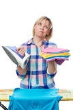 Tired woman housewife ironed clothes Stock Images