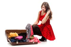 Tired woman with luggage Stock Photography