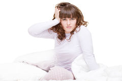 Tired woman with migraine Royalty Free Stock Photography
