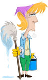 Tired Woman With Mop And Bucket. Vector illustration of a tired blond woman holding mop and bucket Stock Photo