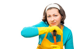 Tired woman with mop on white background. Isolated Royalty Free Stock Photo