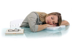 Tired woman napping. Tired woman taking a little nap Royalty Free Stock Photos