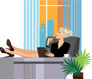 Tired woman in the office, resting his feet on the table. Vector illustration of tired woman in the office, resting his feet on the table Royalty Free Stock Photography