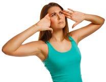 Tired woman pain stress headache, holding hands Stock Photo