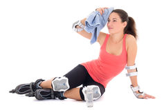 Tired woman after roller training Stock Image