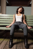 Tired woman sitting Royalty Free Stock Photos