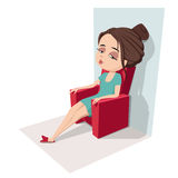 Tired woman sitting on armchair. Tired woman sitting on red armchair Stock Photography