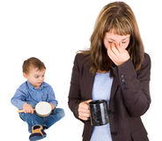 Tired woman and small child Stock Photo
