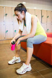 Tired woman after a workout Stock Image