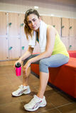 Tired woman after a workout Royalty Free Stock Images