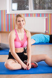 Tired woman after workout Royalty Free Stock Photos
