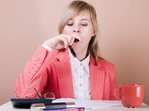 Tired women Royalty Free Stock Photo