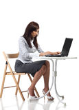 Tired women sitting with computer Stock Photos