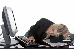 Tired at work Royalty Free Stock Photos