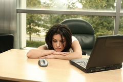 Tired at work. Girl tired at work Royalty Free Stock Image