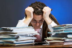 Tired at work Royalty Free Stock Images