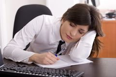 Tired at work Royalty Free Stock Photo