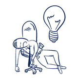 Tired at work. Hand drawn vector illustration Stock Photography