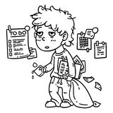 Hard work man. Tired man. Business man working hard. Isolated objects on white background. Vector illustration. Coloring page. Tired work man. Tired man Stock Photos