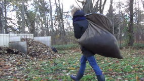 Tired worker girl compost stock video footage