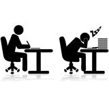 Tired worker. Illustration icons showing an office worker writing and another one tired and sleeping Royalty Free Stock Photos