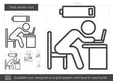 Tired worker line icon. Stock Photography