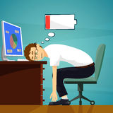Tired worker in the workplace. Low battery charge. Stock. Illustration vector illustration