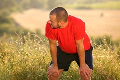 Tired after workout exercise Royalty Free Stock Image