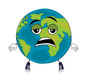 Tired world globe cartoon Royalty Free Stock Photos