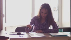 Tired worried businesswoman in stress after hard work. Trying to keep her struggling business afloat. 3840x2160. Tired businesswoman in stress after hard work stock footage