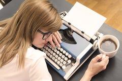 Tired writer Stock Image