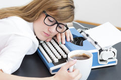 Tired writer Royalty Free Stock Photo