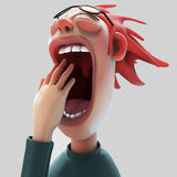 Tired yawning woman 3D illustration Stock Photos