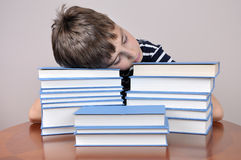 Tired young boy and books Stock Images