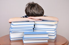 Tired young boy and books Stock Photo