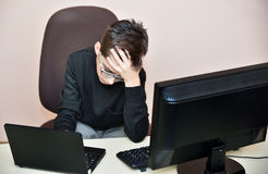 Tired young boy Royalty Free Stock Photography