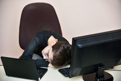 Tired young boy sleeping Stock Images