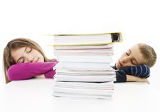 Tired young boy and teenage girl Royalty Free Stock Photo