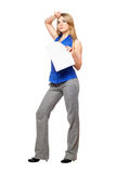Tired young business woman Royalty Free Stock Image
