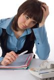 Tired young business woman has thought of problems Royalty Free Stock Photos
